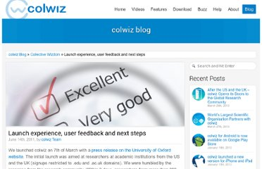 http://blog.colwiz.com/2011/06/14/launch-experience-user-feedback-and-next-steps/