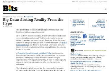 http://bits.blogs.nytimes.com/2011/09/30/big-data-sorting-reality-from-the-hype/