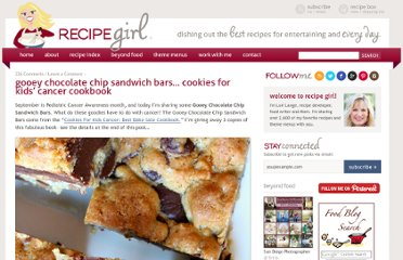 http://www.recipegirl.com/2011/09/29/gooey-chocolate-chip-sandwich-bars-cookies-for-kids-cancer-cookbook/