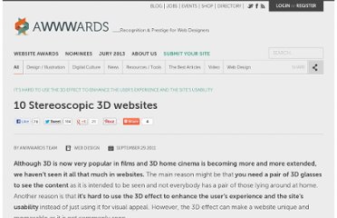 http://www.awwwards.com/10-stereoscopic-3d-websites.html