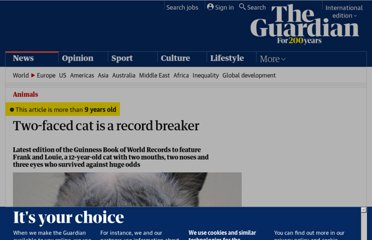 http://www.guardian.co.uk/world/2011/sep/30/two-faced-cat-guinness-world-record