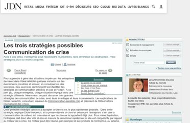 http://www.journaldunet.com/management/dossiers/050167crise/strategies.shtml