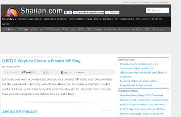 http://shailan.com/874/5-ways-to-hide-your-private-content-in-wordpress/