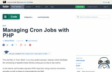http://net.tutsplus.com/tutorials/php/managing-cron-jobs-with-php-2/