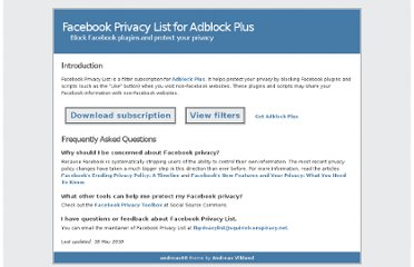 http://www.squirrelconspiracy.net/abp/facebook-privacy-list.html