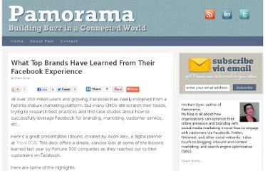 http://www.pamorama.net/2010/01/13/what-top-brands-have-learned-from-their-facebook-experience/