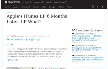 http://gigaom.com/2010/03/09/apple%e2%80%99s-itunes-lp-6-months-later-lp-what/