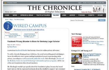 http://chronicle.com/blogs/wiredcampus/facebook-privacy-blunder-is-boon-for-berkeley-legal-scholar/21933