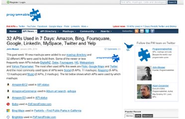 http://blog.programmableweb.com/2010/01/24/32-apis-used-in-7-days-amazon-bing-foursquare-google-linkedin-myspace-twitter-and-yelp/
