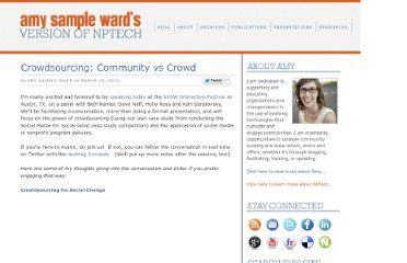 http://amysampleward.org/2010/03/14/crowdsourcing-community-vs-crowd/