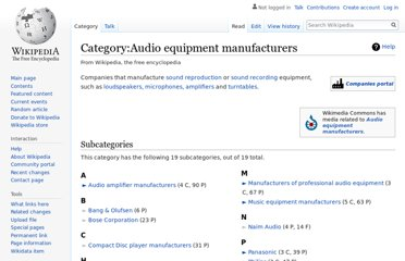 http://en.wikipedia.org/wiki/Category:Audio_equipment_manufacturers
