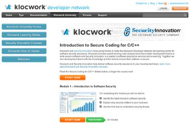 http://developer.klocwork.com/klocwork-university/security-innovation/secure-coding