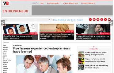 http://venturebeat.com/2011/09/30/five-lessons-experienced-entrepreneurs-have-learned/