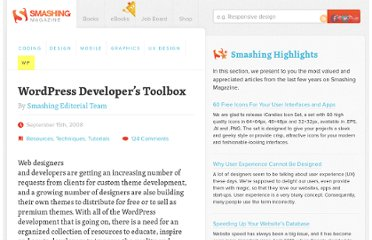 http://wp.smashingmagazine.com/2008/09/15/wordpress-developers-toolbox/