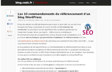 http://blog.cozic.fr/les-10-commandements-du-referencement-dun-blog-wordpress