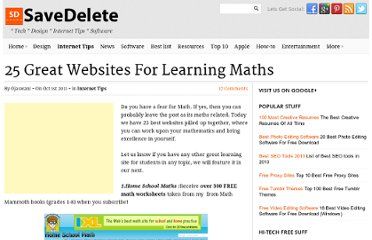 http://savedelete.com/25-great-websites-for-learning-maths.html