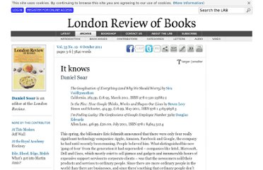 http://www.lrb.co.uk/v33/n19/daniel-soar/it-knows