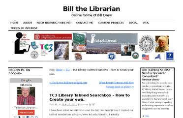 http://billthelibrarian.com/2011/06/tc3-library-tabbed-searchbox-how-to-create-your-own/
