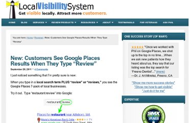 http://www.localvisibilitysystem.com/2011/09/26/new-customers-see-google-places-results-when-they-type-%e2%80%9creview%e2%80%9d/