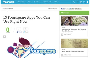 http://mashable.com/2010/01/15/10-foursquare-apps/