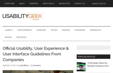 http://usabilitygeek.com/official-usability-user-experience-user-interface-guidelines-from-companies/