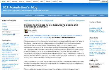 http://blog.p2pfoundation.net/policies-to-promote-public-knowledge-goods-and-knowledge-commons/2011/10/03