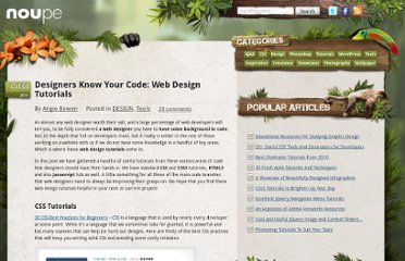 http://www.noupe.com/design/designers-know-your-code-web-design-tutorials.html