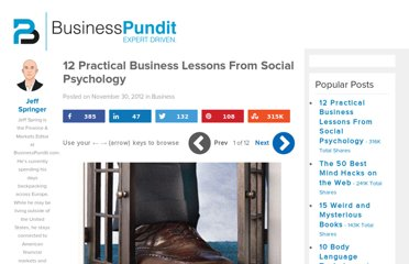 http://www.businesspundit.com/12-practical-business-lessons-from-social-psychology/
