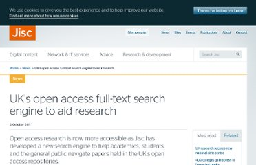 http://www.jisc.ac.uk/news/stories/2011/09/openaccess.aspx