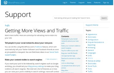 http://en.support.wordpress.com/getting-more-views-and-traffic/