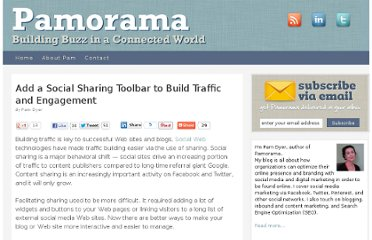 http://www.pamorama.net/2010/11/10/add-a-social-sharing-toolbar-to-build-traffic-and-engagement/