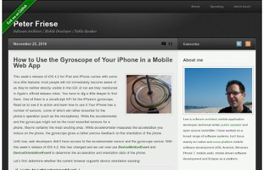 http://www.peterfriese.de/how-to-use-the-gyroscope-of-your-iphone-in-a-mobile-web-app/