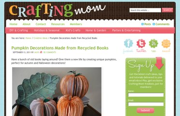 http://craftingmom.com/pumpkin-decorations-made-from-recycled-books/