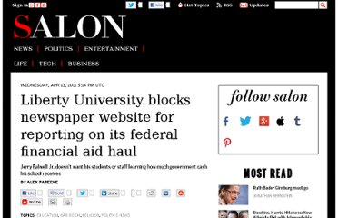 http://www.salon.com/2011/04/13/liberty_university_censorship/