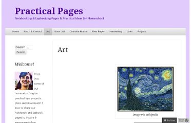 http://practicalpages.wordpress.com/art-activity-pages/