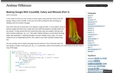 http://andrewwilkinson.wordpress.com/2011/10/04/beating-google-with-couchdb-celery-and-whoosh-part-3/
