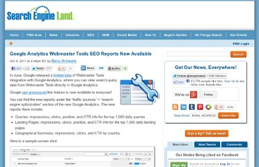 http://searchengineland.com/google-analytics-webmaster-tools-seo-reports-now-available-95626