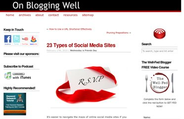 http://onbloggingwell.com/23-types-of-social-media-sites/