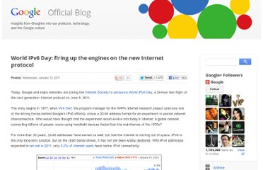 http://googleblog.blogspot.com/2011/01/world-ipv6-day-firing-up-engines-on-new.html