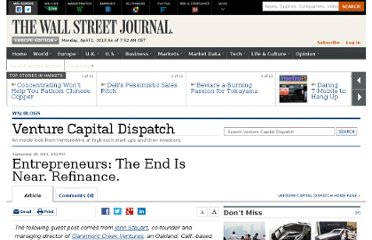 http://blogs.wsj.com/venturecapital/2011/09/28/entrepreneurs-the-end-is-near-refinance/