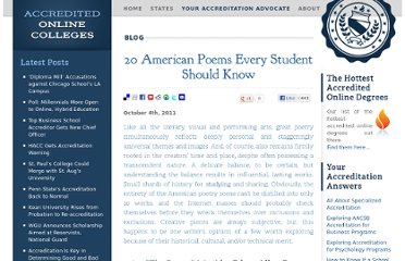 http://www.accreditedonlinecolleges.com/blog/2011/20-american-poems-every-student-should-know/