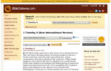 http://www.biblegateway.com/passage/?search=1+Timothy+4&version=NIV