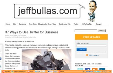 http://www.jeffbullas.com/2011/10/06/37-ways-to-use-twitter-for-business/