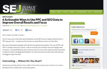 http://www.searchenginejournal.com/6-actionable-ways-to-use-ppc-and-seo-data-to-improve-overall-results-and-focus/33726/