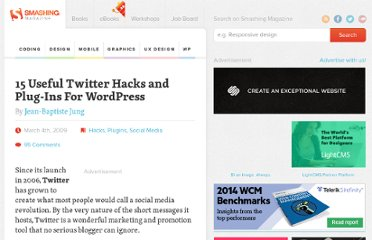http://wp.smashingmagazine.com/2009/03/04/15-useful-twitter-plugins-and-hacks-for-wordpress/
