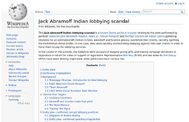 http://en.wikipedia.org/wiki/Jack_Abramoff_Indian_lobbying_scandal