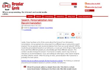 http://regulargeek.com/2011/03/03/search-personalization-and-recommendation/