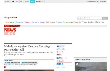 http://www.guardian.co.uk/news/blog/2011/oct/06/bradley-manning-reader-poll-nobel-peace-prize