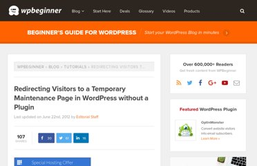 http://www.wpbeginner.com/wp-tutorials/redirecting-visitors-to-a-temporary-maintenance-page-in-wordpress-without-a-plugin/