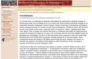 http://plato.stanford.edu/entries/creationism/
